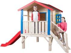 Woody Kerti ház lépcsőkkel, korláttal és csúszdával