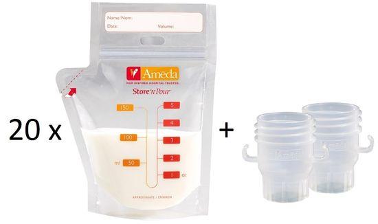 Ameda Sada sáčků na mateřské mléko 20 ks a adaptéry do odsávačky 2 ks