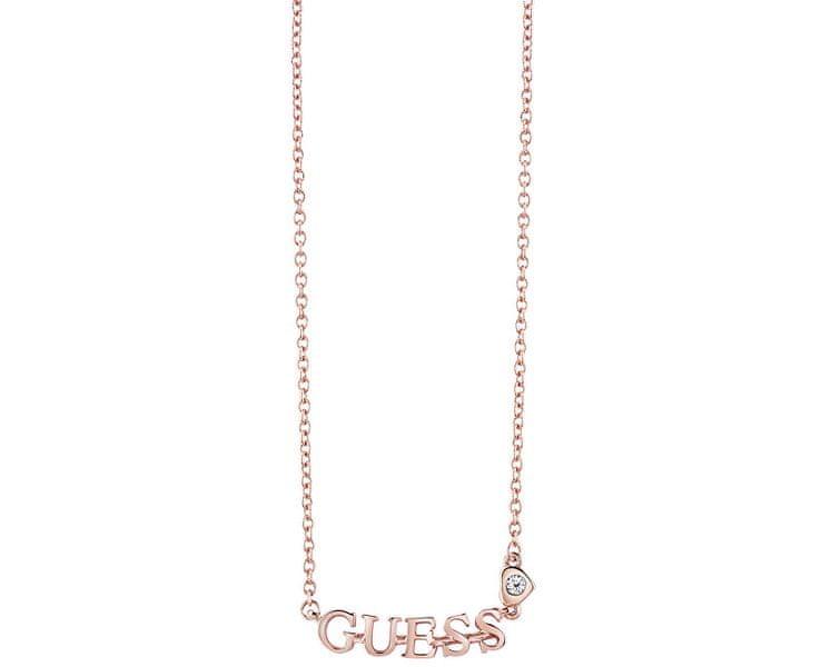 Guess Růžově pozlacený náhrdelník s nápisem UBN61088