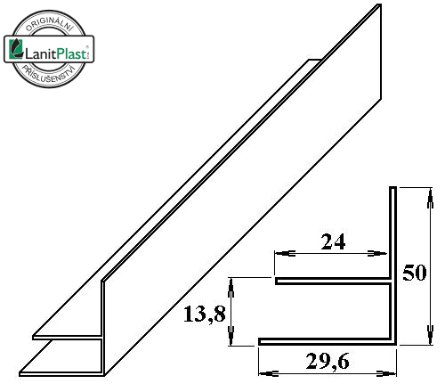 LanitPlast PVC okrajový F-profil 10 mm bílý 6 m