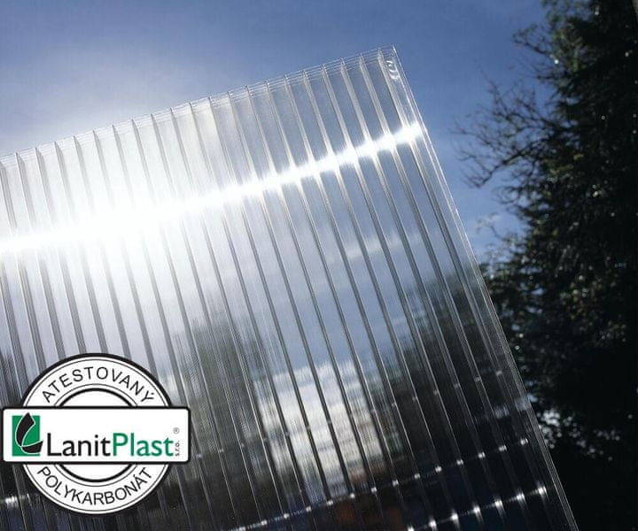 LanitPlast Polykarbonát komůrkový 10 mm čirý - 2 stěny - 1,5 kg/m2 1,05x2 m