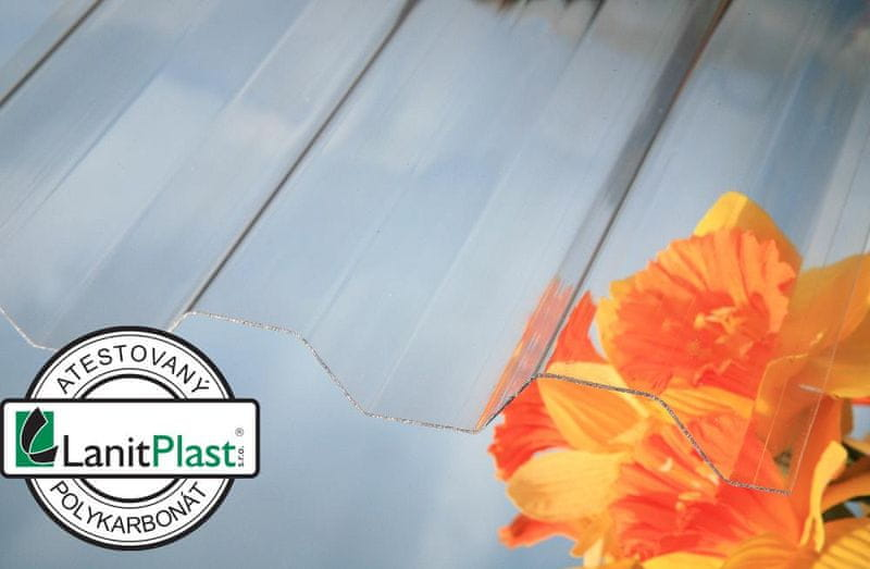 LanitPlast Trapézový polykarbonát Marlon CS síla 0,8 mm čirý 1,06x3 m