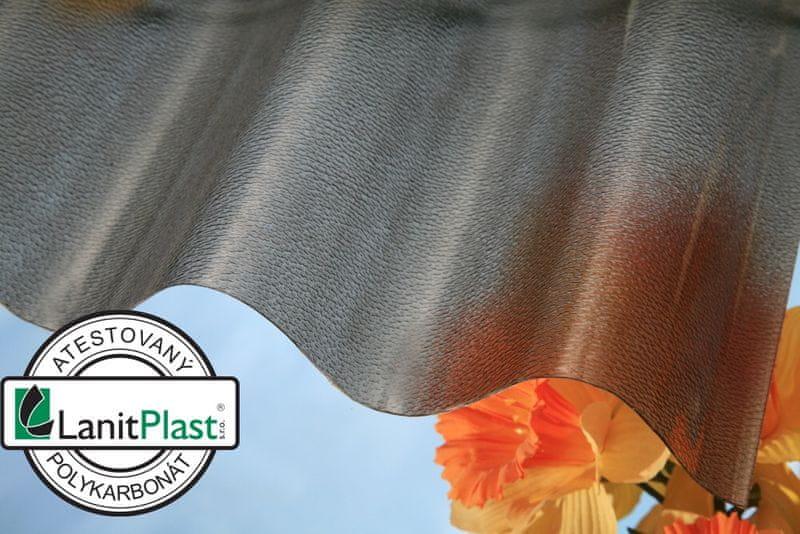 LanitPlast Vlnitý polykarbonát Marlon CSE síla 0,8 mm bronz 0,95x2 m