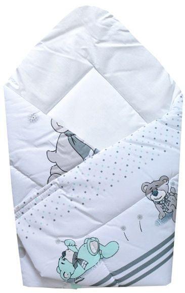 COSING Rychlozavinovačka 80x80 cm - Medvídek s šálou, bílo-šedá