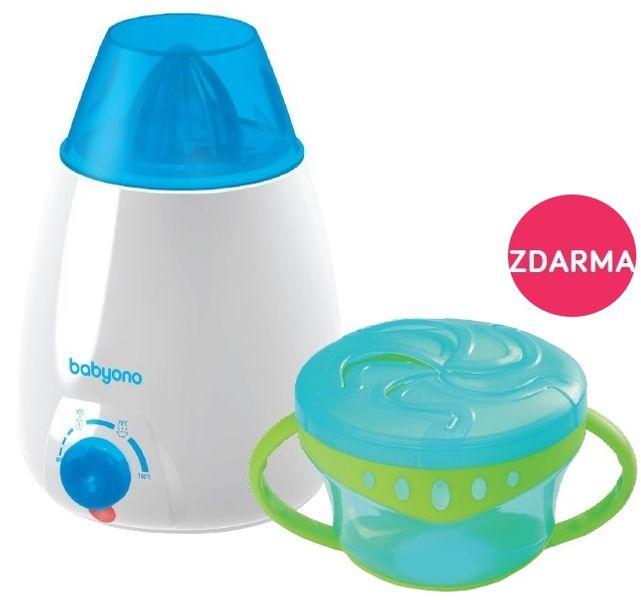 BabyOno Ohřívač lahví elektrický + DÁREK miska s úchyty a víčkem - modrá