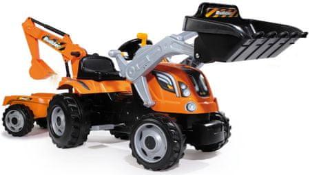 Smoby Traktor na pedały max z przyczepą, łyżką i koparką