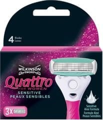 Wilkinson Sword Quattro for Women Sensitive Náhradní hlavice 3 ks