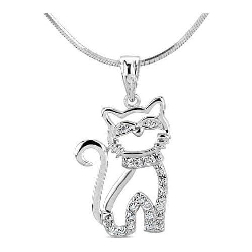 Silvego Stříbrný přívěsek kočka s micro zirkony SHZP1103