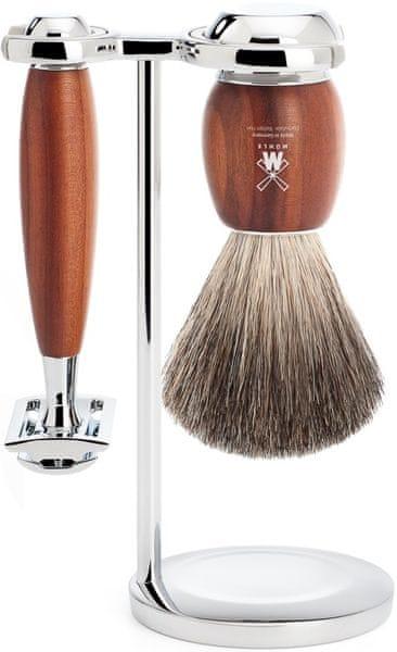 Mühle Vivo sada na holení, Pure Badger, žiletka, Plum Wood