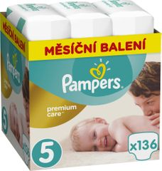 Pampers pieluchy Premium Care 5 (Junior) - 136 szt.