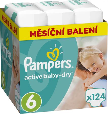 Pampers Plienky Active Baby 6 Extra Large Maxi Mesačné balenie  - 124 ks