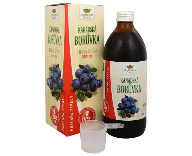 EkoMedica Czech Kanadská borůvka - 100% šťáva z plodů kanadské borůvky 500 ml