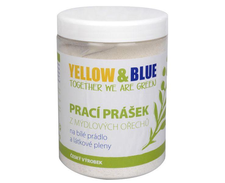Yellow & Blue Prací prášek z mýdlových ořechů na bílé prádlo a pleny s dezinfekčním účinkem (Objem 850 g)