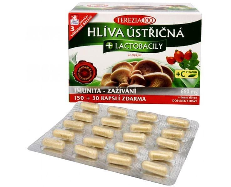 TEREZIA COMPANY Hlíva ústřičná + laktobacily + vitamín C 150 kapslí + 30 kapslí ZDARMA