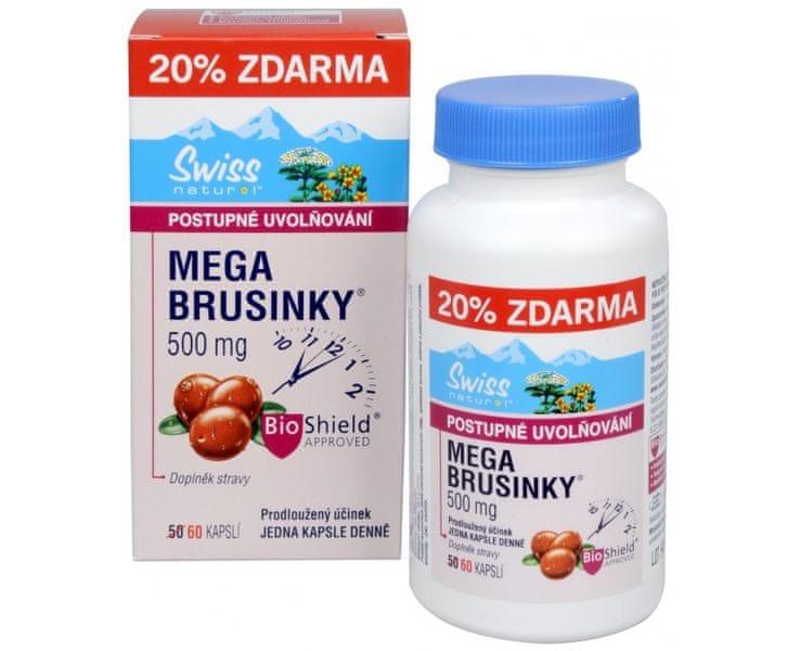 Swiss Natural Mega Brusinky 500 mg 50 kapslí + 10 kapslí ZDARMA