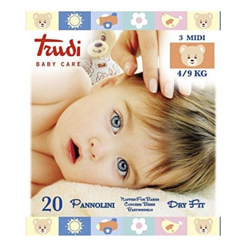 Trudi Dětské pleny Dry Fit s vrstvou Perfo-Soft velikost Medium 4-9 kg 20 ks