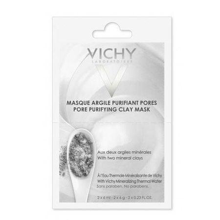 Vichy Minerálne čistiaca ílová pleťová maska (Pore Purifying Clay Mask) 2 x 6 ml