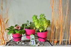 Previosa Květináče PAT růžové 3 ks + kovový stojan