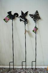 Previosa Ocelové podpěry rostlin 72 cm, 3 ks (pták, motýl, veverka)
