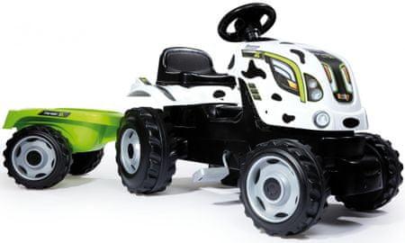 Smoby Šliapací traktor Cow Farmer XL s vozíkom