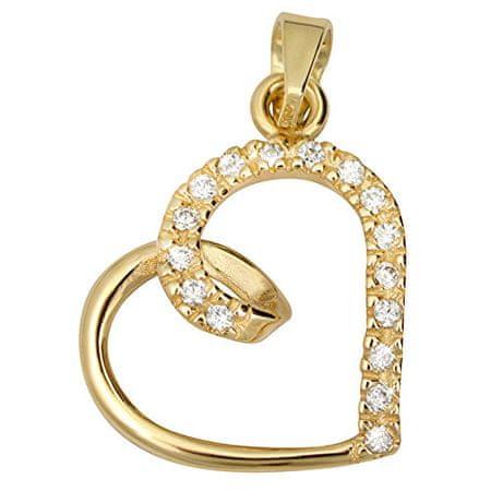 Brilio Zlatý přívěsek s krystaly Srdce 249 001 00451 - 0,90 g zlato žluté 585/1000