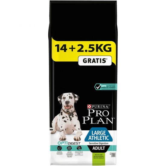 Purina Pro Plan Large Adult Athletic Sensitive Digestion with Optidigest Kutyaeledel, Bárány, 14+2,5 kg