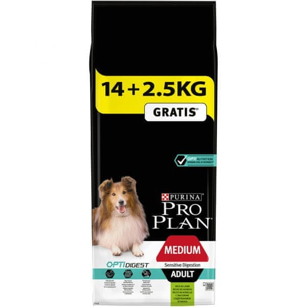 Purina Pro Plan Medium Adult Sensitive Digestion s jehněčím 14 + 2,5kg
