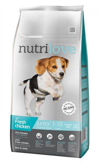 Nutrilove Dry Junior Small & Medium kutyatáp, csirke 8kg