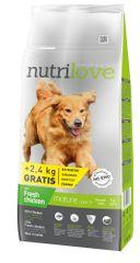 Nutrilove sucha karma dla psa Senior z kurczakiem 12kg + 2,4 kg gratis
