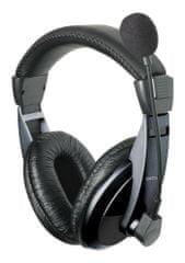 Astrum HS-222C Sztereó fejhallgató állítható mikrofonnal, Fekete
