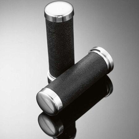Highway-Hawk kožené gripy 25mm , čierna/chróm (2ks)