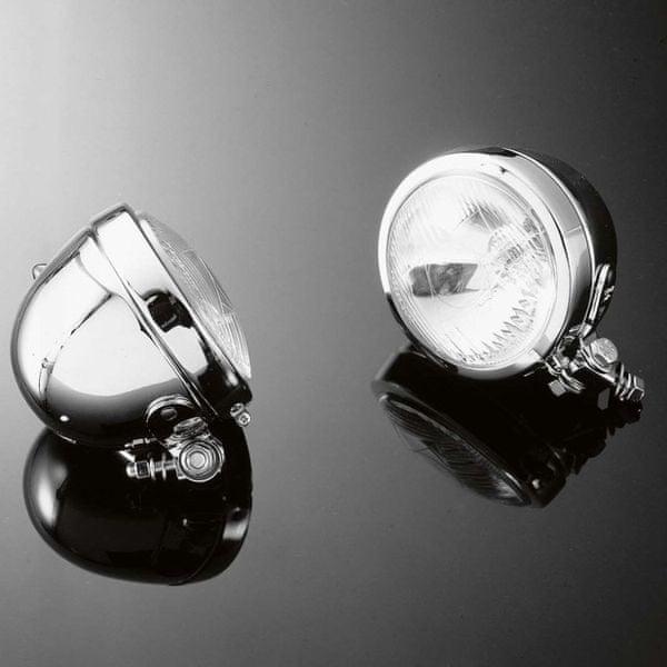Highway-Hawk přídavná moto světla BATES, d=115mm, E-mark, chrom (2ks)