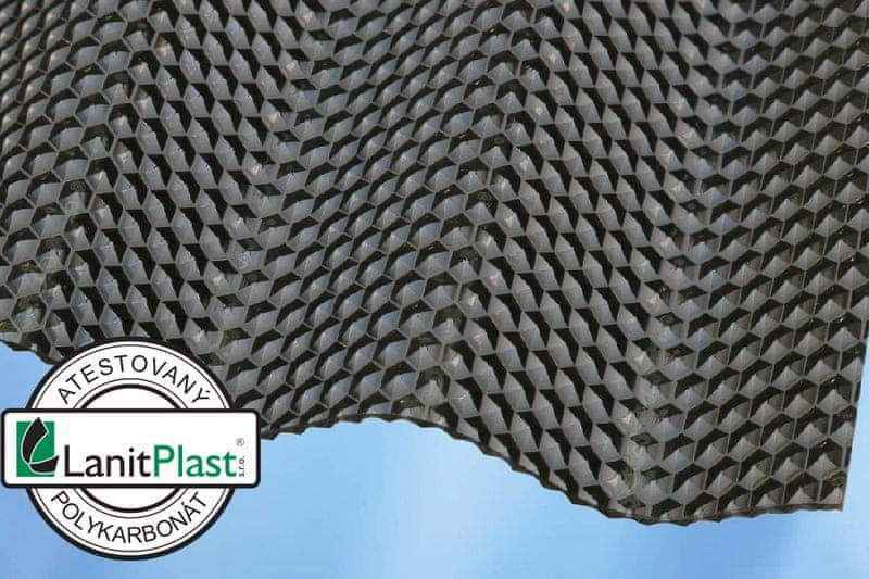 LanitPlast Vlnitý polykarbonát Marlon CSE Diamond síla 2,6 mm bronz 1,045x2 m