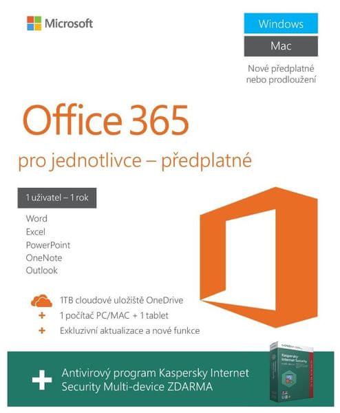 Microsoft Office 365 pro 1 PC/MAC + Kaspersky Internet Security Multi Device, bez média, 1 rok - pouze k zaříz