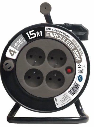 Moveto Prodlužovací kabel na bubnu 15m šedý