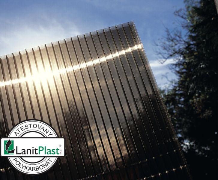LanitPlast Polykarbonát komůrkový 10 mm bronz - 4 stěny - 1,7 kg/m2 2,10x7 m