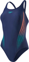 Speedo Strój Placement Powerback Navy/Jade/Soft Coral
