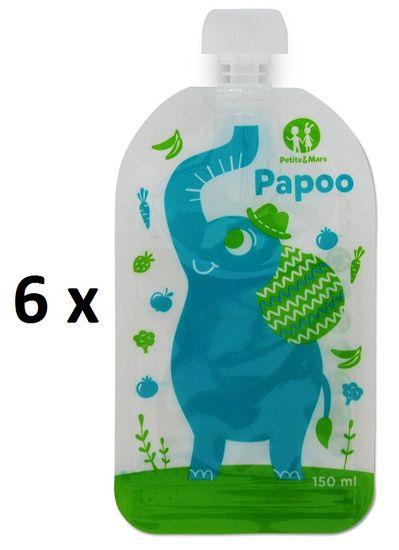 Petite&Mars Kapsička na jídlo Papoo Slon 6x150ml
