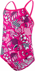 Speedo Strój Essential Frill 1 Piece Electric Pink/Navy/White