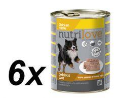 Nutrilove Dog paté CHICKEN 6 x 800g