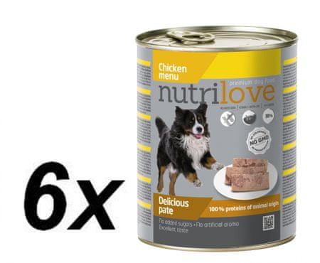Nutrilove mokra pasja hrana, pate - piščanec 6x800g