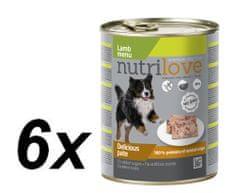 Nutrilove mokra pasja hrana, pate - jagnjetina, 6x800g
