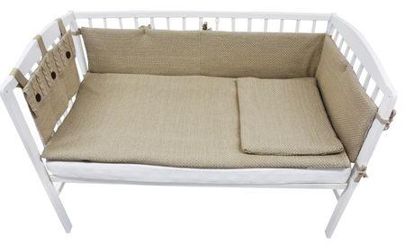 EKO Dzianinowy zestaw do łóżeczka dziecęcego, brązowy