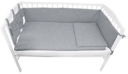 EKO Dzianinowy zestaw do łóżeczka dziecęcego, szary