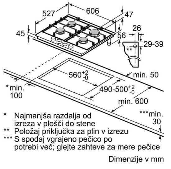 Bosch plinska kuhalna plošča PRP6A6N70