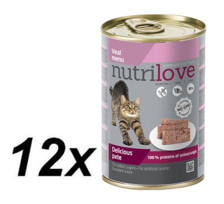 Nutrilove mokra mačja hrana, pate - teletina 12 x 400g