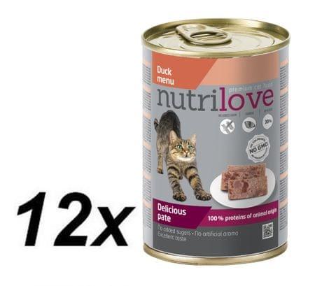 Nutrilove mokra mačja hrana, pate-raca 12 x 400