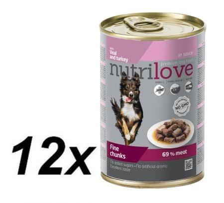 Nutrilove Dog chunks, gravy VEAL + TURKEY 12 x 415g