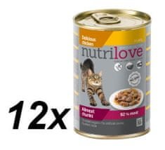 Nutrilove Cat chunks jelly CHICKEN Macskaeledel - 12 x 400g
