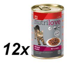 Nutrilove mokra mačja hrana, govedina 12x400g
